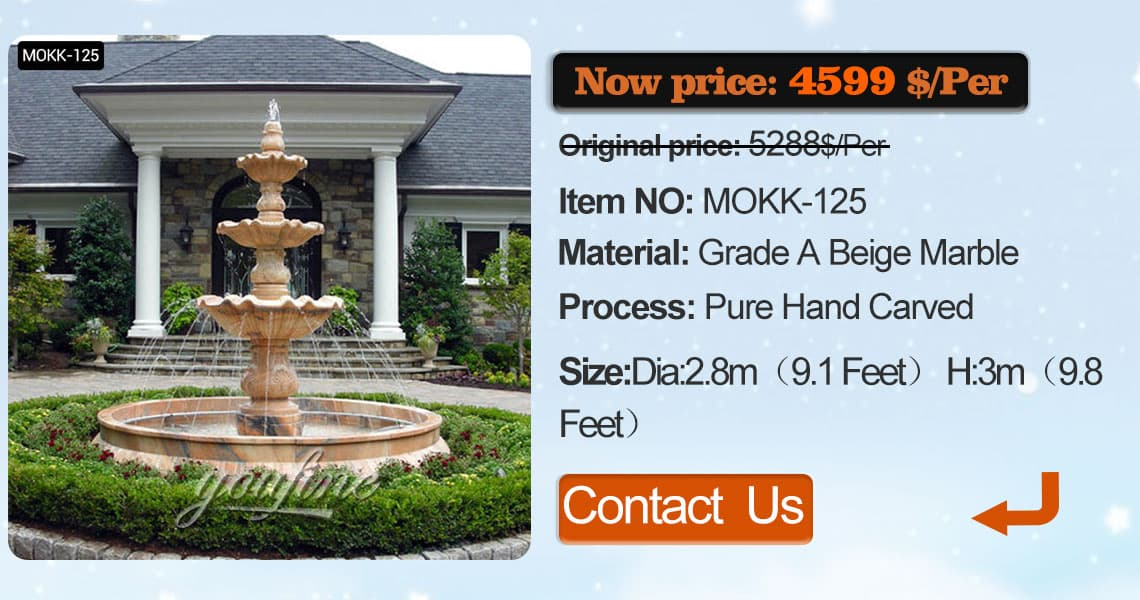 school tiered driveway fountain with lion for sale