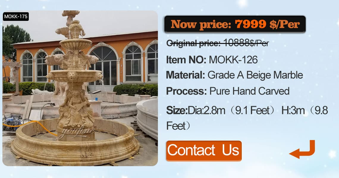 Modern outdoor 3 tiered stone fountain with animals China