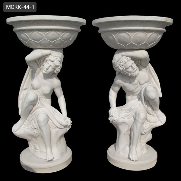 grecian entrance white marble plant planters
