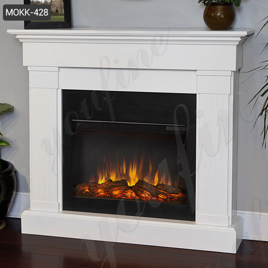 faux finish electric fire travertine fireplace mantel ...