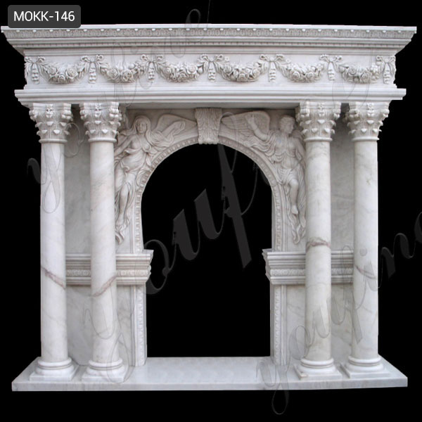 Michael 44.5 in. Freestanding Carved Electric Fireplace in Ivory