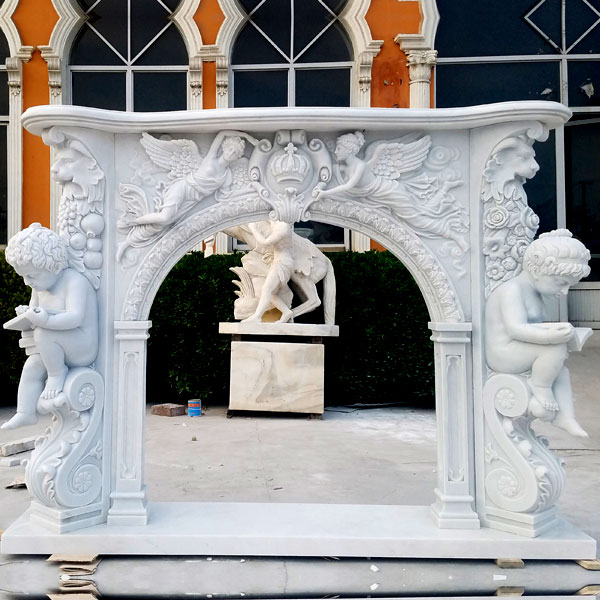 Modern Stone Fireplaces French White Marble Hand Carved Fireplace Surround Design for Sale MOKK-131