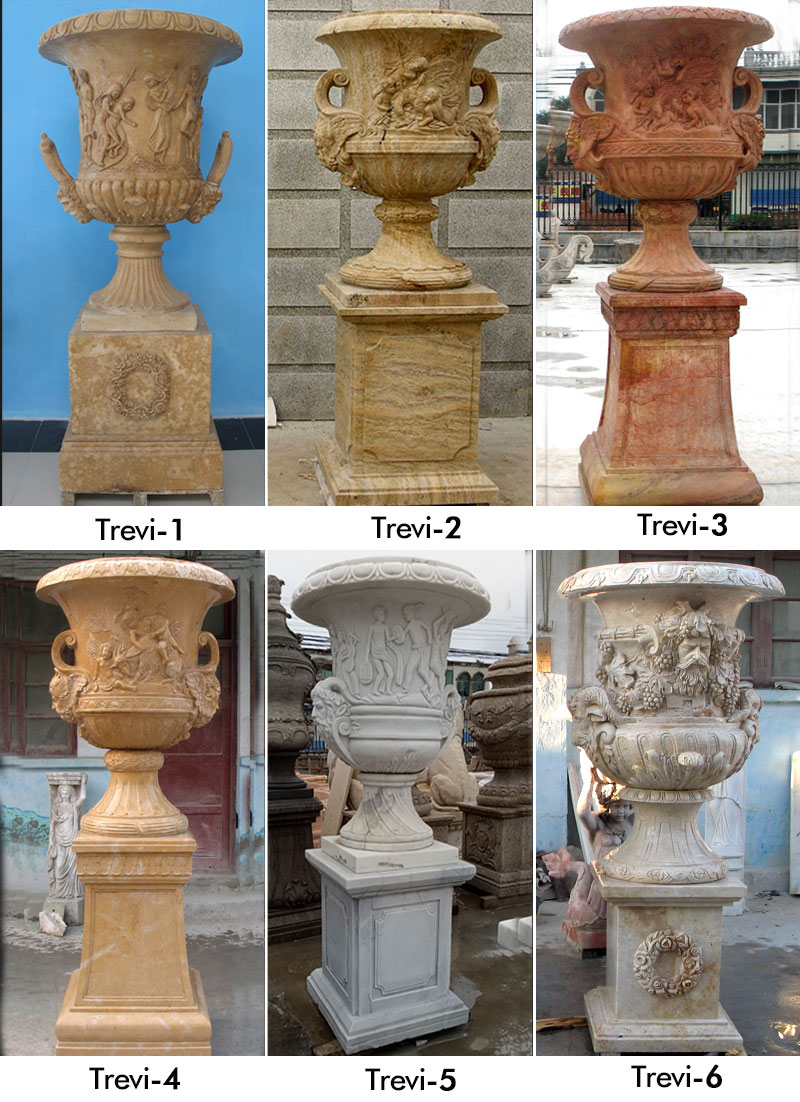 Outdoor Natural Marble Flower Pot Planting Special Western Modern Design Simple Style-MOKK-46