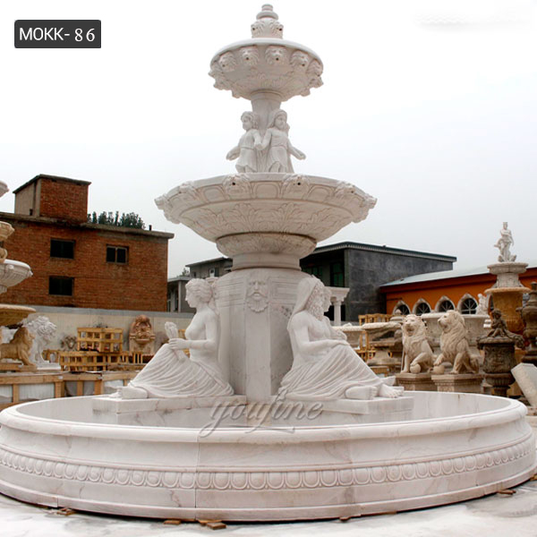 Hand Carved 2 Tiered White Marble Fountain with Figure Statues Design for Sale for Front Yard Decor–MOKK-86