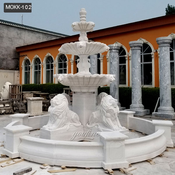 High Quality Large Three Tiered Patio Outdoor White Marble Fountain Lion Statue Design for Sale-MOKK-102