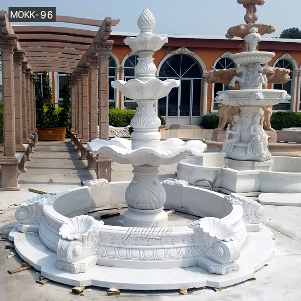 Life Size Beautiful Hot Selling Pure White 3 Tiered Outdoor Marble Fountain Garden Water Fountain for Sale–BOKK-96