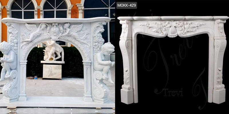 Modern Stone Fireplaces French White Marble Hand Carved Fireplace Surround