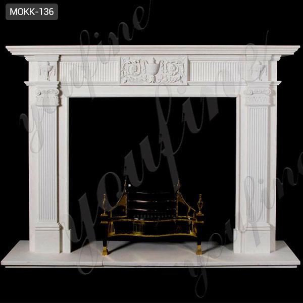 Cheap Modern White Stone Fireplace Mantel Frame for Sale MOKK-136