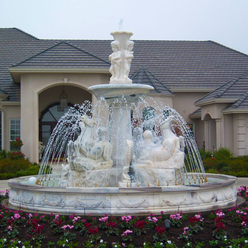Outdoor Tiered White Marble Water Fountain With Horse and Figure Statue Design for Front Yard Decor for Sale