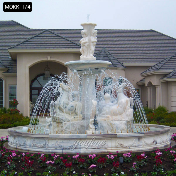 Outdoor Tiered White Marble Water Fountain with Horse Design for Front Yard Decor for Sale MOKK-174