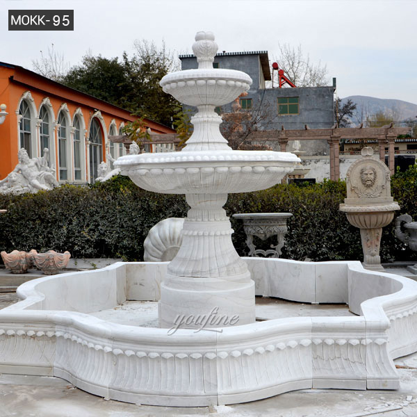 Outdoor Pure White Marble Garden Fountain Small 3 Tiered Water Fountain for Backyard Decor for Sale–MOKK-95