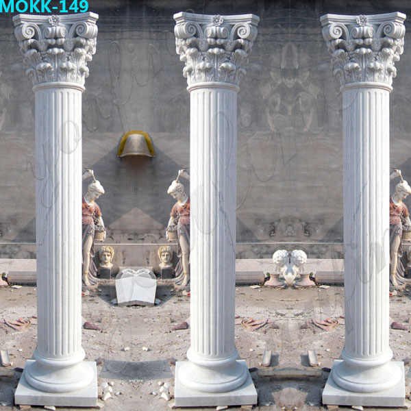 White Marble Greek Column Corinthian Order Round Fluted Wedding Columns for Sale MOKK-149
