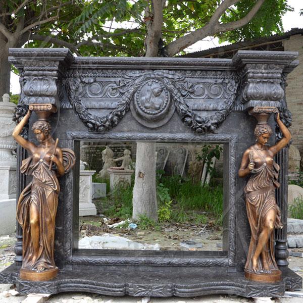Antique Black Carved Stone Luxury Fireplace Mantel Surrounds for Sale MOKK-133