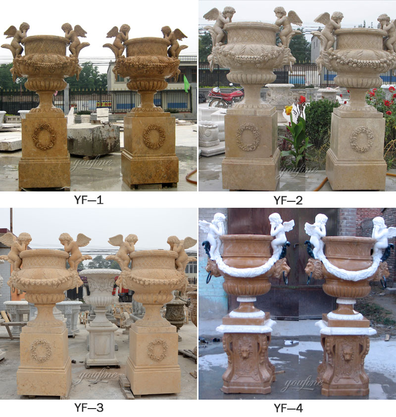 Marble Flower Planter Sample Design for Home and Outdoor Life Size Statue for Sale -MOKK-52