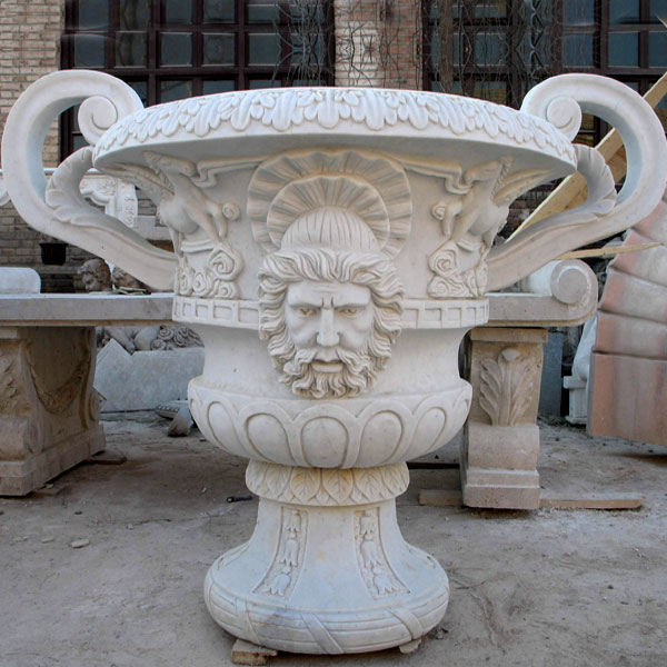 Flower Planter White Marble Material Life Size for Garden Dec Modern Sample Design-MOKK-53