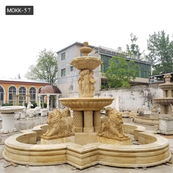 Hot Sale Life Size Marble Lions Fountain Outdoor Tiered Fountain  MOKK-57