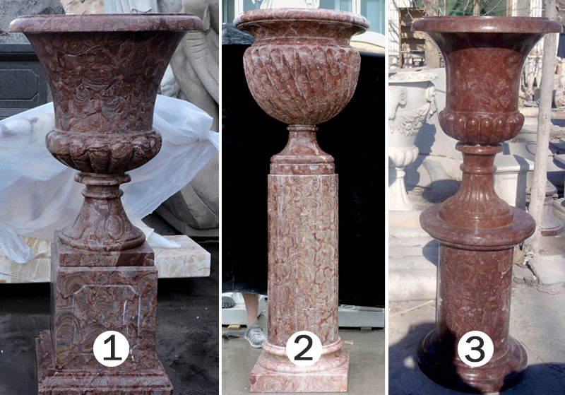 Natural Marble Flower Pot Outdoor Pure Hand Carved Red Color Marble Flower Pot for Sale-MOKK-45