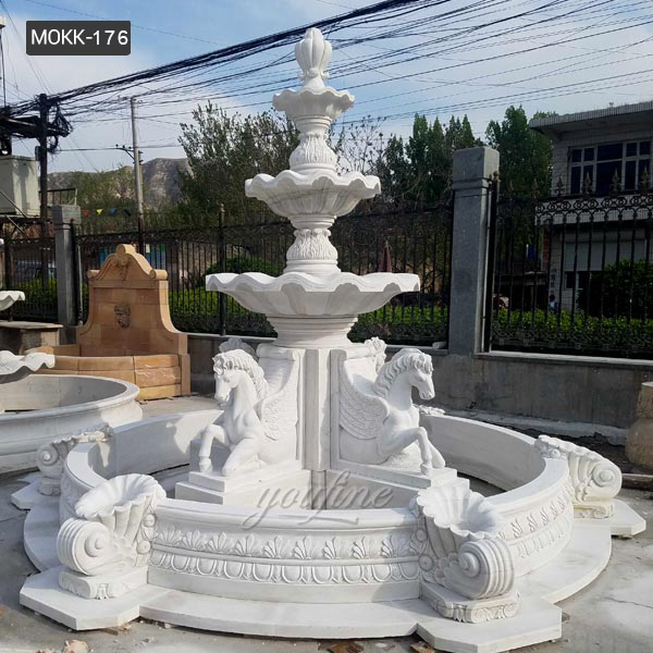 Garden Decorative Natural White Marble Horse Water Fountain Hand Carved  3 Tier Fountain For Sale MOKK-176