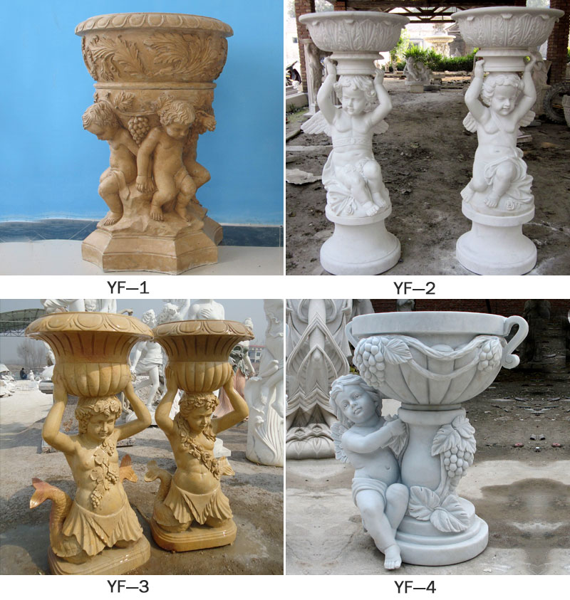 Special Western Modern Design Marble Flower Pot Planting Outdoor Statue Simple Style-MOKK-47