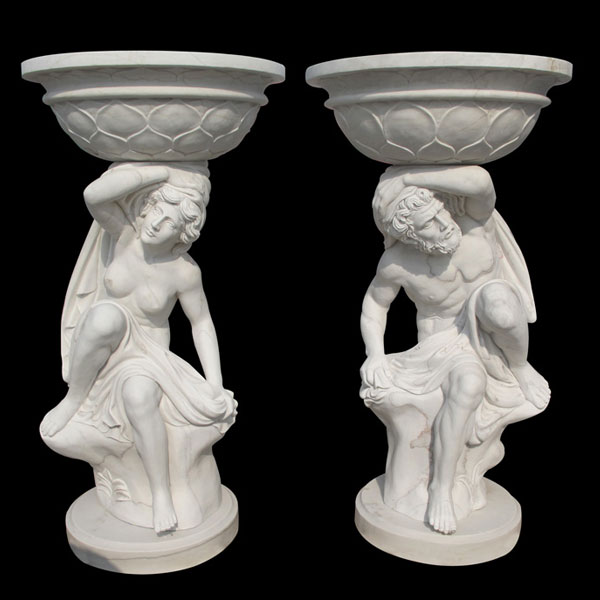 Outdoor Tall Garden Marble Planter for Sale Hot Sale White Marble Planter-MOKK-44