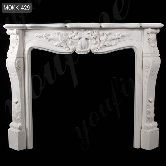 Hand Carved Home Decorative White Marble Fireplace Surround for Sale MOKK-429