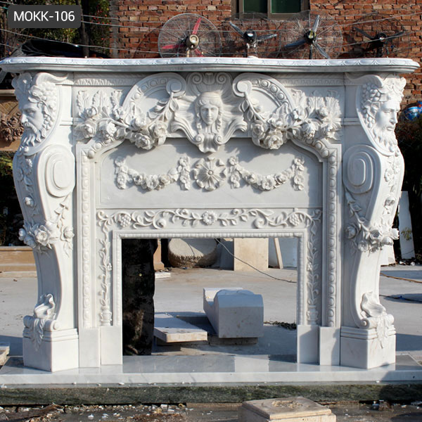 Luxury Hand Carved Home Decoration Cultured White Marble Fireplace MOKK-106