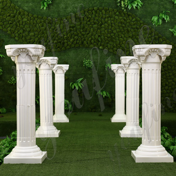 Hand Carved Ionic Order Column Round Fluted Marble Pillars for the Welcome Venue for Sale MOKK-154
