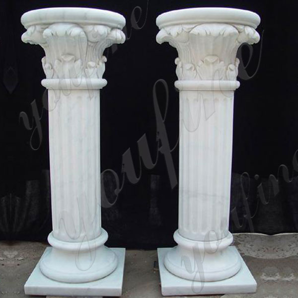 Hand Carved White Marble Column for Wedding Ceremony for Sale MOKK-160