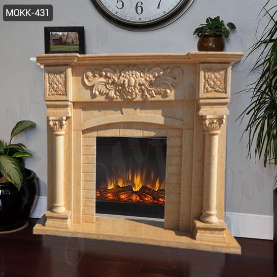 Hand Craft Yellow Marble Fireplace Mantel Surround Design for Sale MOKK-431