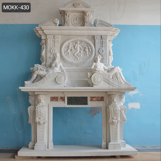 Large Marble Overmantel Fireplace Surround for Home Decor for Sale MOKK-430