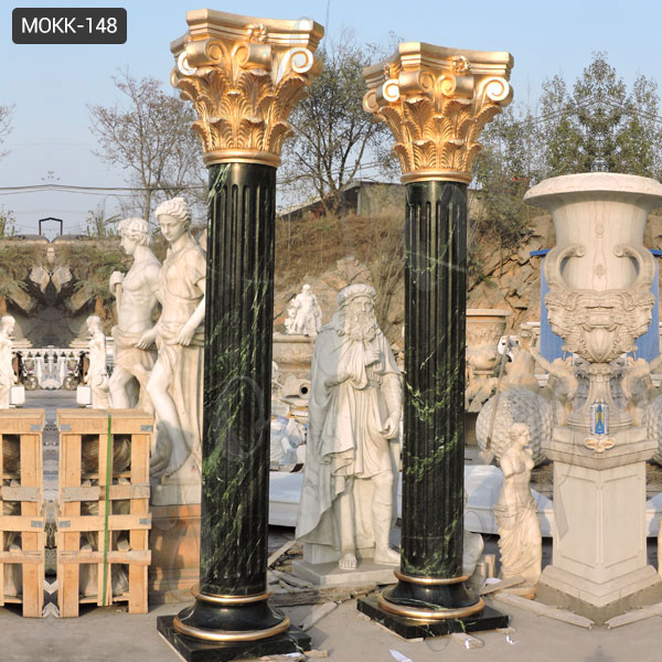 Large Outdoor Marble Round Porch Columns for Porch Greek Corinthian Order With Fluted Design for Sale MOKK-148