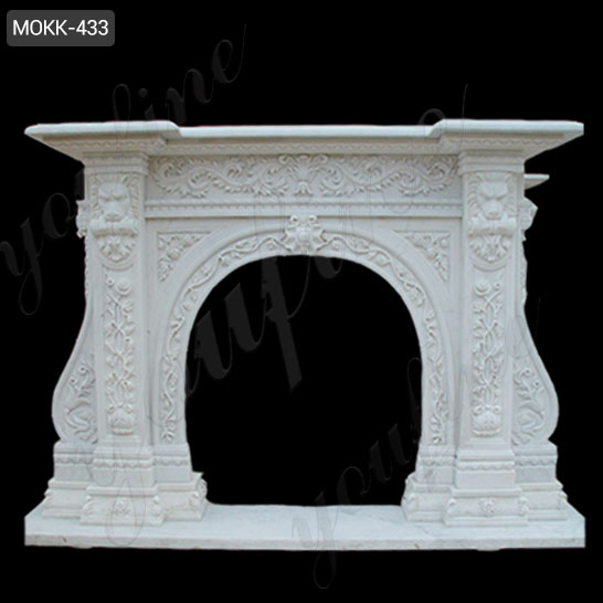 Life Size Modern Stone White Outdoor Stone Fireplace Design for Sale MOKK-433