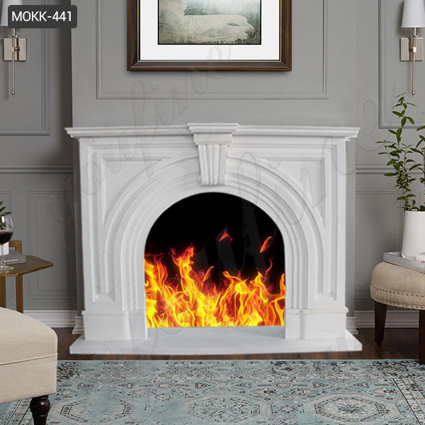 Modern White Marble Fireplace Mantel Surround with Hand Carved for Home Decor for Sale MOKK-441