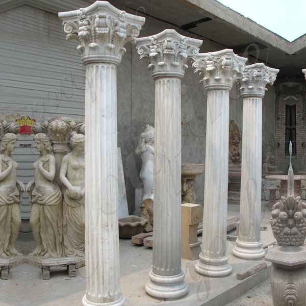 White Marble Corinthian Order Ancient Greek Exterior Porch Columns Round Fluted for Sale MOKK-150