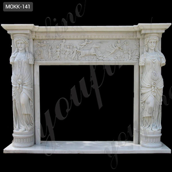 2019 New Design Interior Decoration White Marble Fireplace for Sale MOKK-141