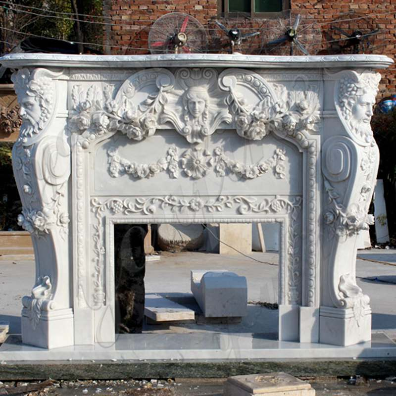 Exquisite Hand carved French Design Marble Fireplace