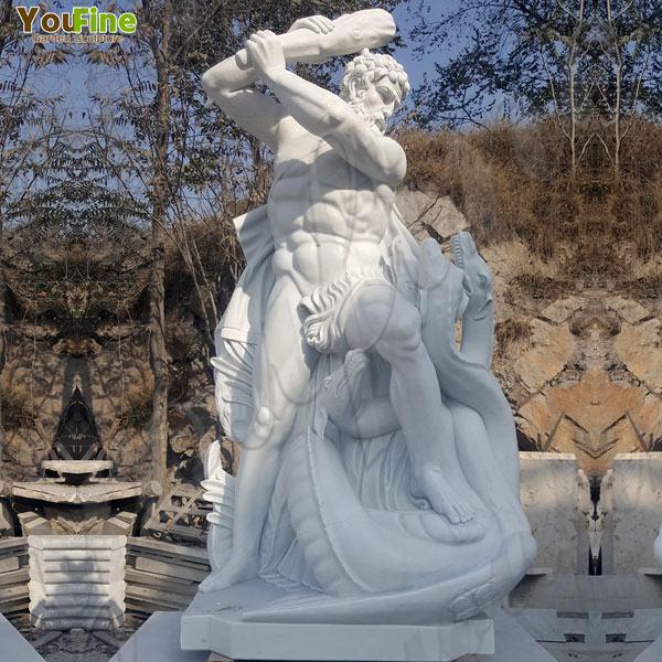 Hand Carved Art Garden Naked Statue Hercules Man Marble Statue for Sale MOKK-75