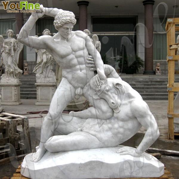 Famous Outdoor Garden Marble Hercules and Minotaur Statues Sale MOKK-78