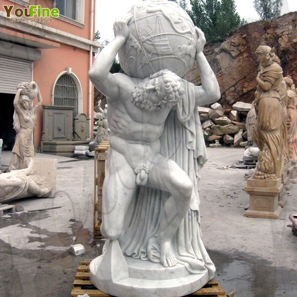 Outdoor Garden Decoration Marble Atlas Statue Bearing the Heavens for Sale MOKK-80