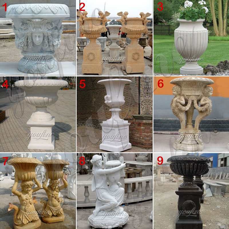 Garden Marble Flower Pots Outdoor Decoration planter for Sale MOKK-662