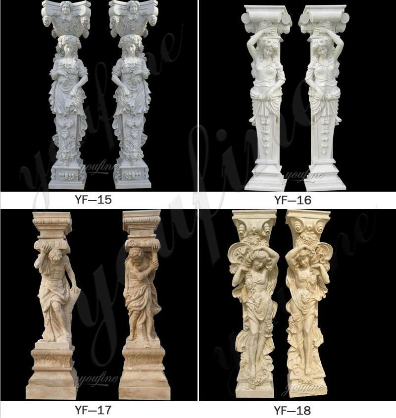 High quality Western Style Hand Craved Statue Marble Columns