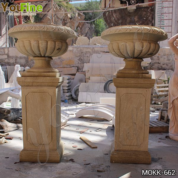 Tall Garden Beige Marble Flower Pots Outdoor Decoration planter for Sale MOKK-662