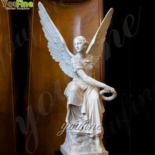 Delicate Marble Sitting Angel with Wings Statues for Garden Supplier MOKK-243