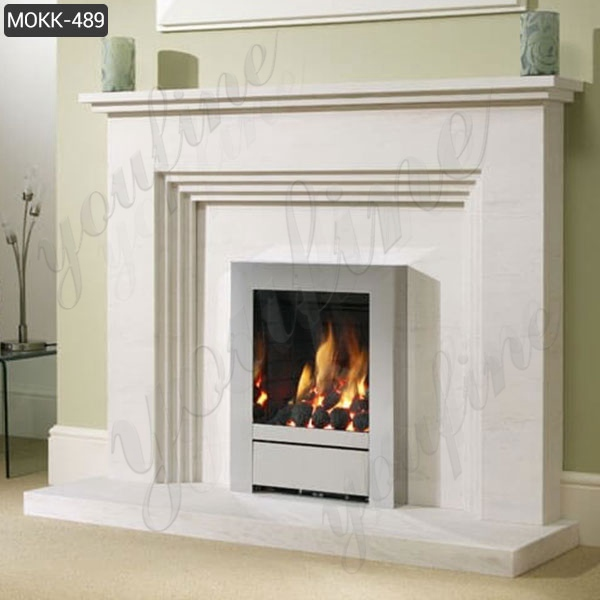 Simple Design White Modern Marble Fireplace for Sale MOKK-489