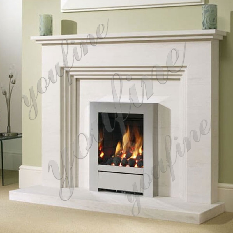 White Outdoor Modern Marble Stone Fireplace for Sale MOKK-489