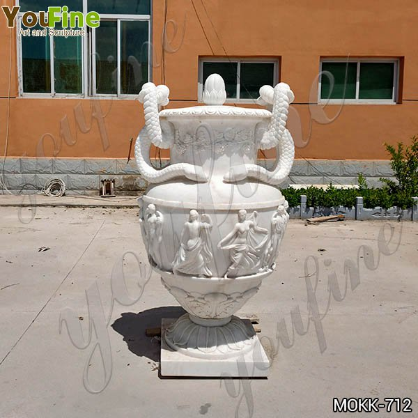 Classic Marble Flower Pots with Snake Garden Decoration for Sale MOKK-712