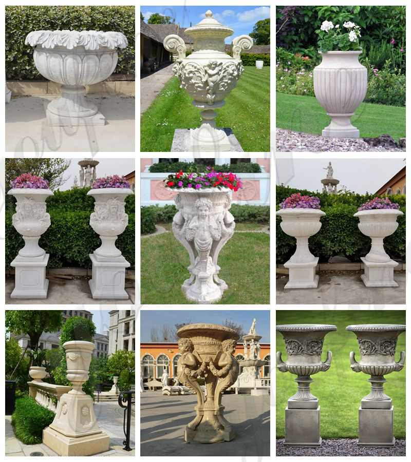 marble Flower Pots with Human for Sale MOKK-711