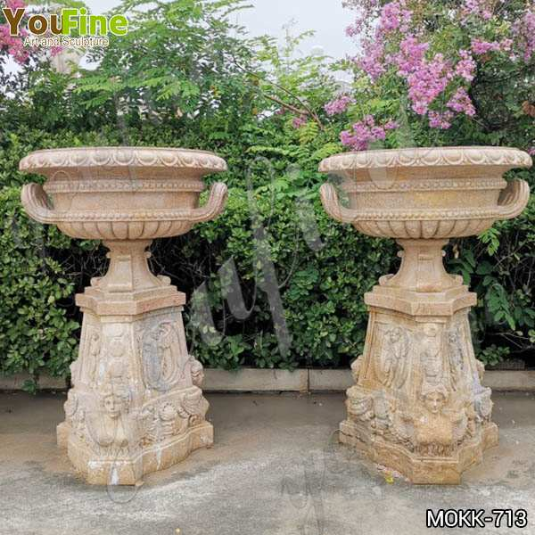 Antique Beige Marble Flower Pots with triangle Base Garden Decor MOKK-713