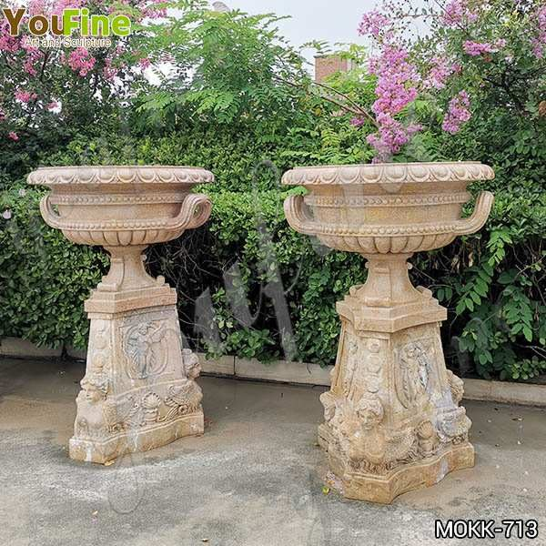 Antique Beige Marble Flower Pots with triangle Base