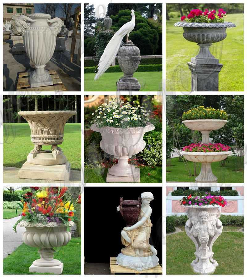 Delicate Garden Decoration Marble Flower Pots with Human for MOKK-711